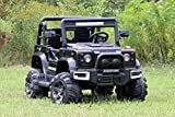 First Drive Large Jeep - 2 Seater - 12v Dual Motor Kids Electric Ride-On Car with Remote Control,Bluetooth MP3 Playback, Aux Cord, Premium Wheels - Black