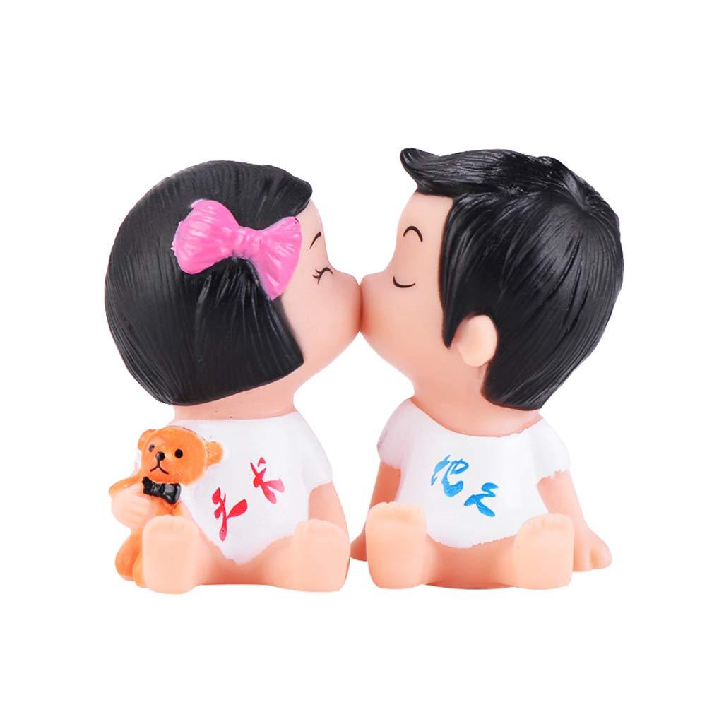 NAttnJf Beau Couple Embrassant Poupée Miniature Paysage Ornement Accueil Cake Top Decor White
