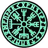 EmbTao Glow In Dark Vegvisir Viking Compass Norse Rune Morale Tactical Embroidered Applique Fastener Hook & Loop Patch