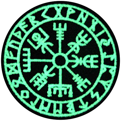 EmbTao Glow in Dark Vegvisir Viking Compass Norse Rune Morale Tactical Embroidered Applique Fastener Hook&Loop Patch