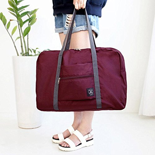 Kinbelle Large Capacity Foldable Travel Bags Portable Shopping Bags Travel Duffle Wine Red
