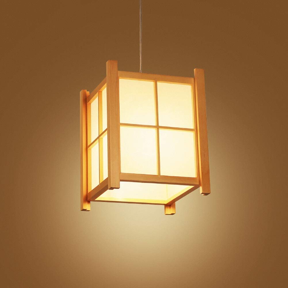 (Color : LED White Light) Pendant Lights Chandelier Lampshade - Japanese Restaurant Sushi Bar Bar Porch Balcony Solid Wood Simple Nordic LED Home Lighting