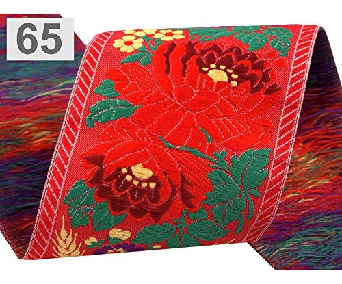 1m 65/1 Light Red Polyester Folk Costume Ribbon Width 70mm, Woven Jacquard Patterned Ribbons, Trimming Ribbons, and Insertion Piping, Habe ()
