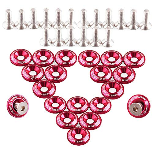 20 Pack Car Modified Aluminum Alloy with Taper Washer Washer Bolt Set Fixed Washer (RED):