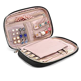 BAGSMART Travel Jewellery Organizer Case Portable Jewelry Bag for Rings, Necklaces, Bracelets, Earrings, Black
