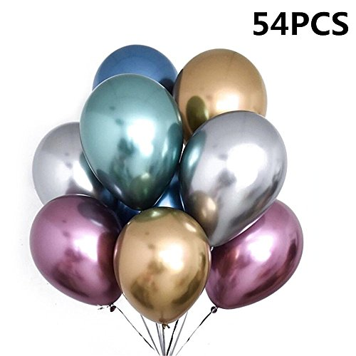54 Pieces 12inch Chrome Shiny Metallic Latex Balloons for Birthday Wedding Grad Theme Party (54PCS) by CUEA