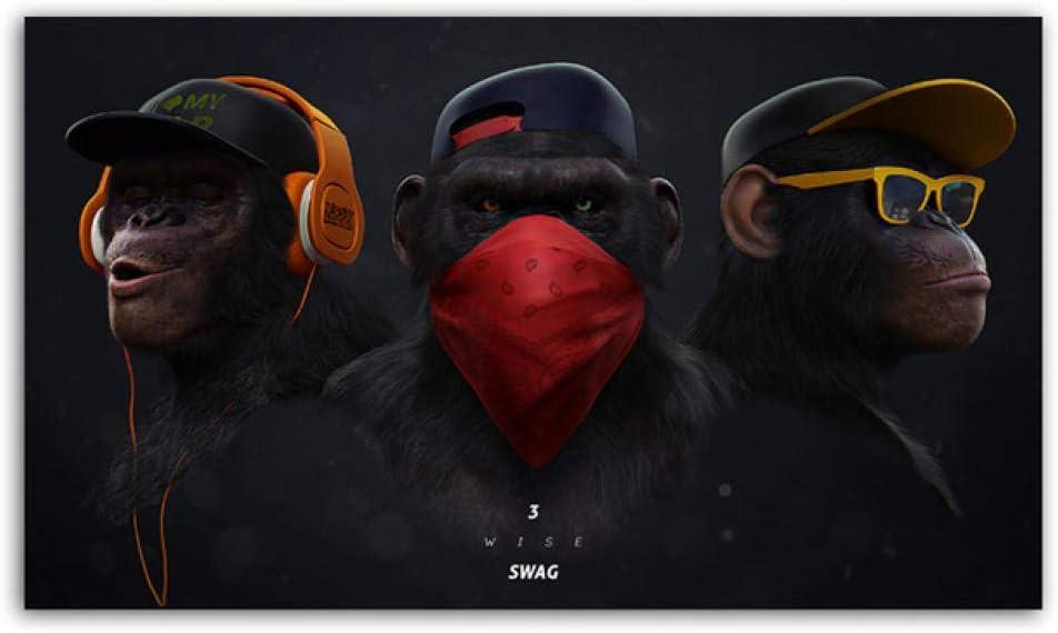 mmzki Arte Abstracto de la Pared Mono de Pensamiento Divertido con Gafas Auriculares Carteles e Impresiones Animal Lienzo Pintura Imagen de la Pared para la Sala Cuadros No Frame
