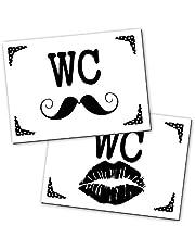 2 stuks wc-bord toiletbord wc-bord bord zwart wit lippen snaaier vrouwen + mannen 14,8 x 10,5 cm incl. kleefpunten aluminium composietplaat voor kantoor gastronomie hotel.