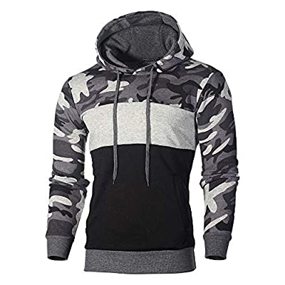 Realdo Clearance Mens Camo Hoodie Sweatshirt, Mens Cotton Blend Splice Camouflage Military Combat Hooded Pullover Tops