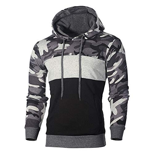 Realdo Mens Camo Hoodie Sweatshirt, Mens Cotton Blend Splice Camouflage Military Combat Hooded Pullover Tops