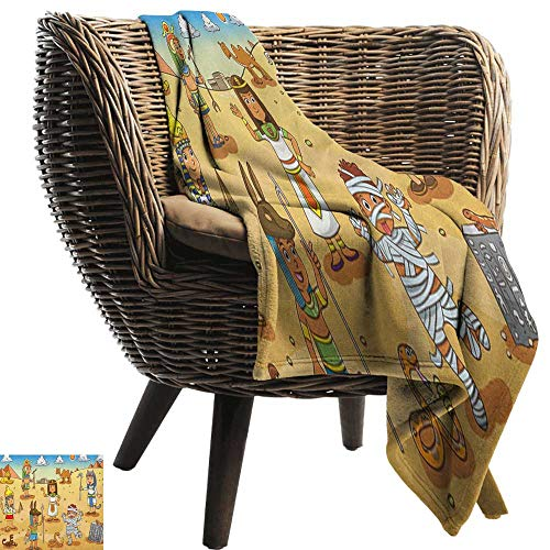 Warm Blanket Cartoon Historical Egypt Characters with Pyramids Cleopatra King Mummy Child Design Image Anti-Static Throw60 Wx80 L