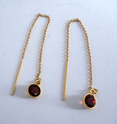 Natural red garnet January birthstone 14k yellow gold filled chain earrings (Gold Amethyst Threader Earrings)