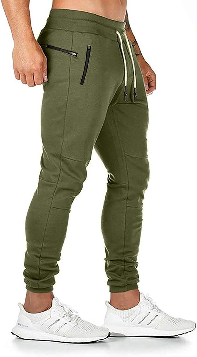 GymRevolution Mens Workout Jogger Sweatpants Training Running Slim Pants with Zipper Pocket /& Towel Loop