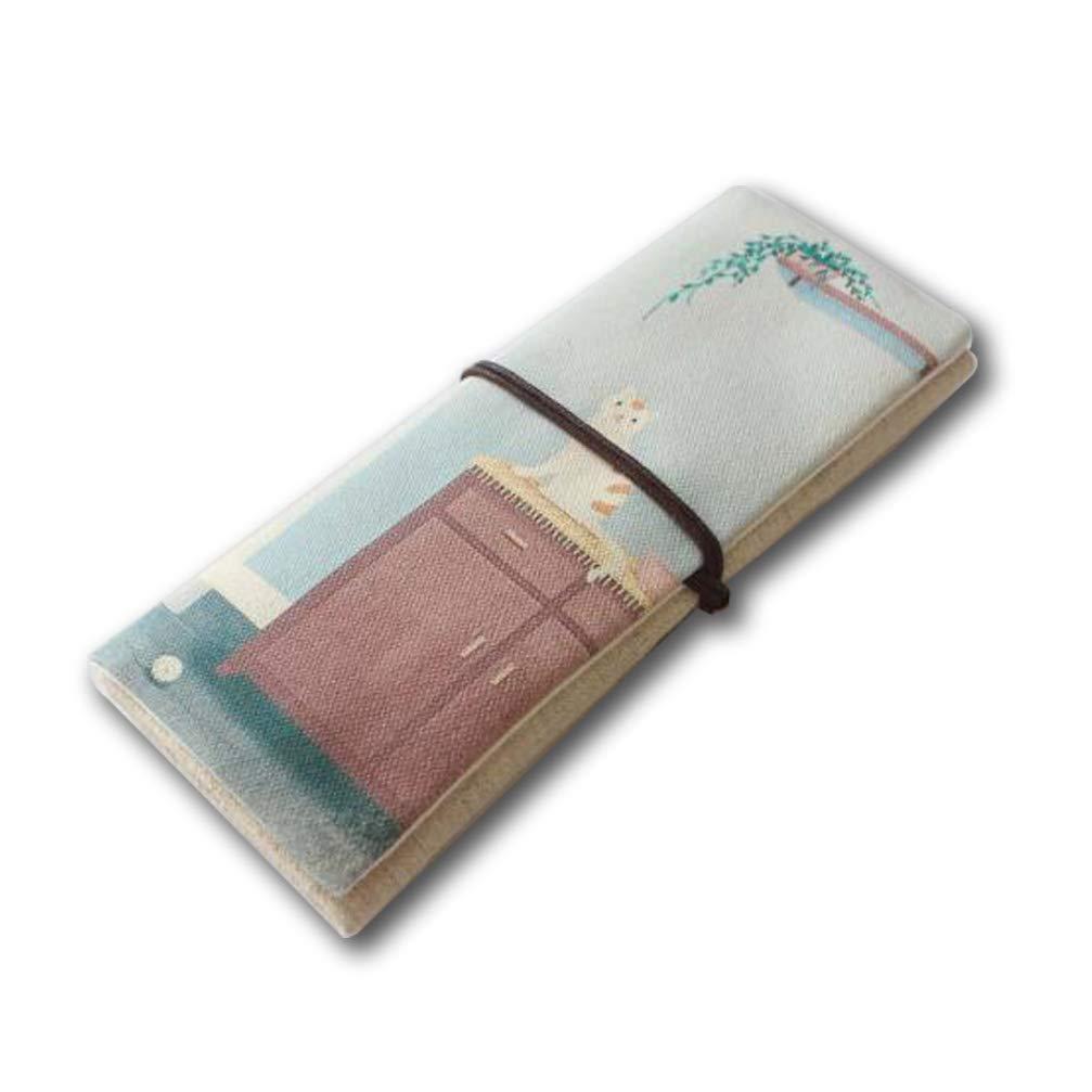 ToiM - Estuche de lona para lápices y lápices, diseño de animales, color Bookcase