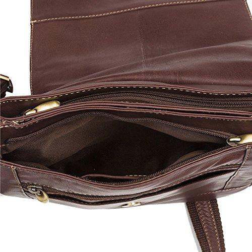 Zerimar Läder Messenger Bag | Läder Satchel Väska | Vintage Messenger Bag | Laptop Messenger Bag | Laptop Bag Messenger Läder | Storlek: 10,9 x 25,4 x 6,9 cm