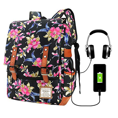 Floral Fashion Laptop Backpack for Women, Professional Business Travel Backpack, College School Bookbag with USB Charging Port & Headphone Jack, 15.6inch Notebook Computer Rucksack