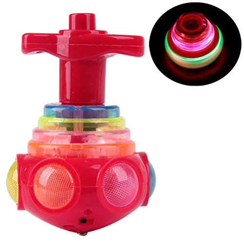 String Tri Top (Arsmt Yo-yos UFO LED Light Up with Music Launcher Gyro Spinning Top Rainbow Colors Change Glow in the Dark Toy)