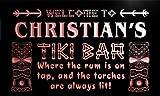 pmg878-r Christian's Tiki Bar Mask Beer Pub Neon Light Sign