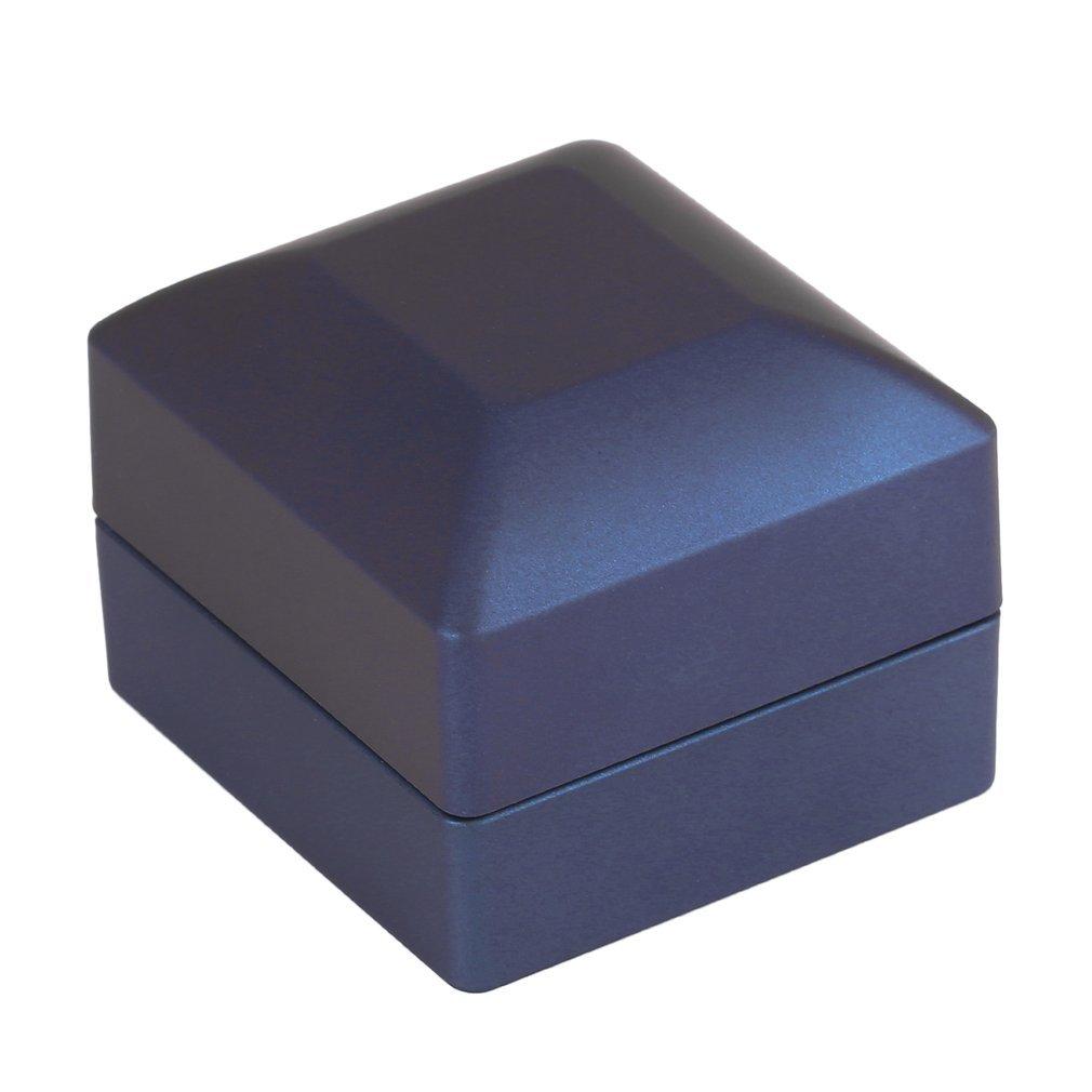 Sungpunet Caja de la joyería de Superficie Lisa con luz LED del Estuche rígido para la visualización y joyería Tienda Anillos Azul 65x65x50MM