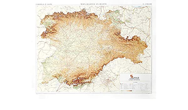 Mapa en relieve de Castilla y León: Escala 1:500.000: Amazon.es ...