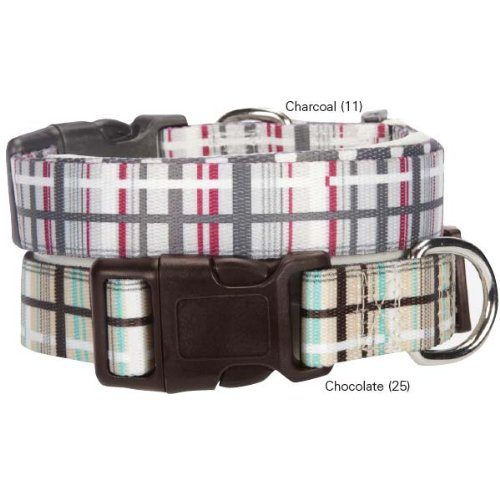 Casual Canine Rad Plaid Dog Collar, 10 to 16-Inch, Chocolate