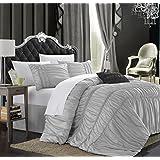 Chic Home Romantica 4-Piece Duvet Cover Set, King, Silver