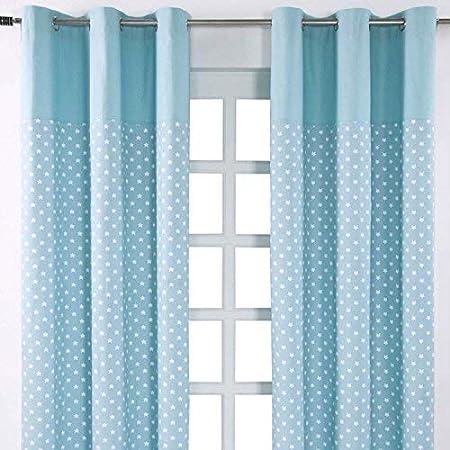 HOMESCAPES Cortinas Color Azul con Estrellas Blancas, de algodón 137x182cm: Amazon.es: Hogar