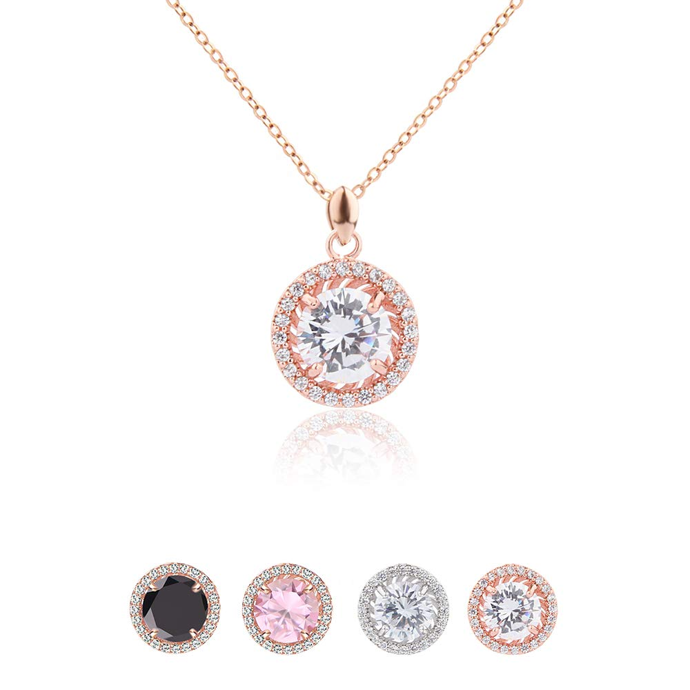 Jardme Rose Gold Adjustable CZ Chain Round Pendant Necklace with A Gift Bag (Rose Gold)