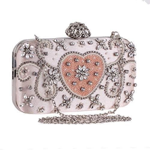 LKJASDHL 女性のビーズのイブニングバッグダイヤモンドクラッチバッグ財布ハンドバッグショルダーバッグレディーバッグディナーバッグチェーンスモールスクエアバッグバンケットハンドバッグカジュアルフォーマルな日常のバッグ (色 : ピンク)
