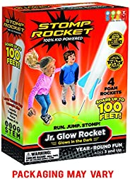 Stomp Rocket Jr. Glow Rocket, 4 Rockets and Toy Rocket Launcher - Outdoor Rocket Toy Gift for Boys and Girls Ages 3 Years an