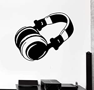 Ajcwhml Moderno Vinilo Decal Auriculares Pop Rock Música Etiqueta de La Pared Sala de Arte de la Pared Auriculares Decoración del Hogar Adhesivo 61x53cm: Amazon.es: Hogar