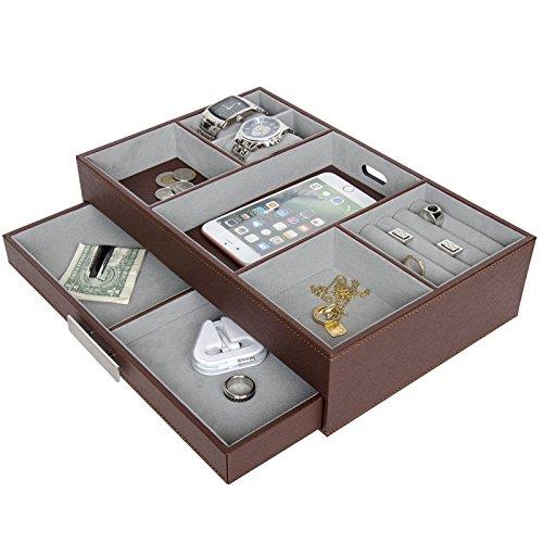 Arolly Leather Finish Valet Charging Station Organizer Storage Jewelry Box