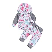 XiaoReddou Infant Baby Girls Flower Hoodie Tops +Long Pants Outfits Set Clothes (Grey, 0-6 Months)
