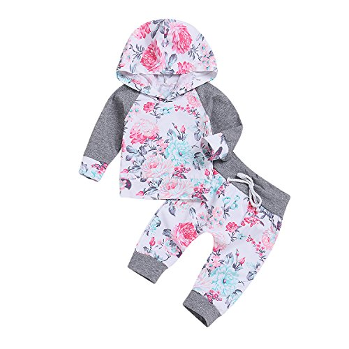 (2 PCs Newborn Toddler Infant Baby Girl Clothes Outfit Set Long Sleeve Floral Hoodie Sweatshirt and Pants Kids)