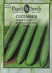 Page's Seed P323 Cucumber Garden Sweet Burpless Hybrid (Slicer) Seed Packet