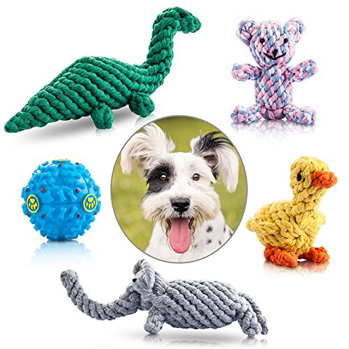 Felicificer Dog Chew Toys, Cotton Rope Animal Design with Funny Ball Pappy chew Toys, Indoor Outdoor dog toys for Small and Medium Dogs (Set of 5) by Felicificer