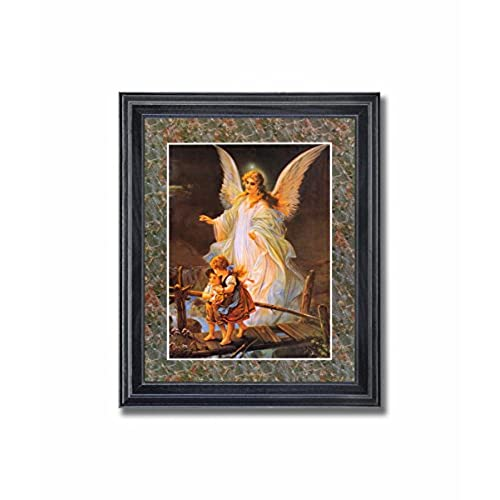 Guardian angel 3 children bridge religious wall picture framed art print