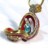 Locket Necklace with Surprise Praying Angel Guilloché Red Enamel 925 Sterling Silver Egg Pendant Genuine Garnets Swarovski Crystals 24k Gold-Plate Chain