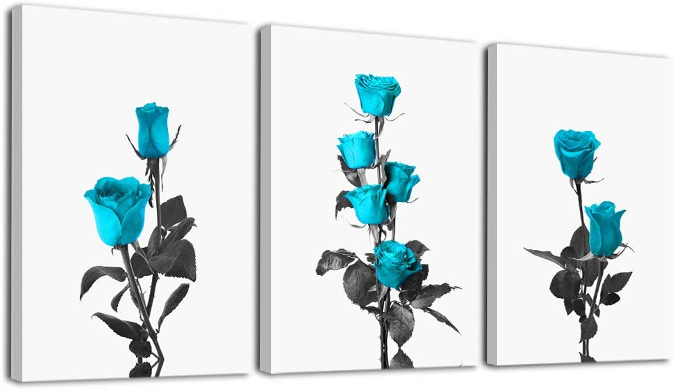 Canvas Wall Art For Living Room Family Wall Decorations For Bedroom Modern Bathroom Wall Decor Paintings Blue Roses Flowers Pictures Artwork Inspirational Canvas Art Prints Kitchen Home Decor 3 Piece