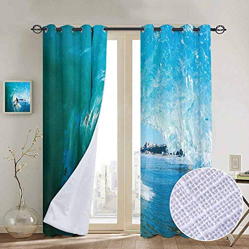 NUOMANAN Print Curtains for Bedroom Curtain Wave,Extreme Sportsman Surfer Inside Barreled Wave Fun Action Holiday Vacation,Turquoise Light Blue,Grommet Window Treatment Set for Living Room ()