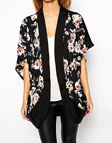 en Mousseline Kimono Ample Courtes Gardigan Et Lger Carolilly Manches Femme Fleurs Blouse Noir zvBBgw