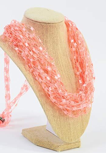 (CROCHETLACES Adjustable LIGHTWEIGHT Crochet Necklace Scarf- Summer)
