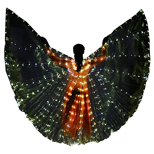 White And Gold Angel Wings Costume (Danzcue Women's Transparent Gold Costume Angel LED Wing with Sticks)