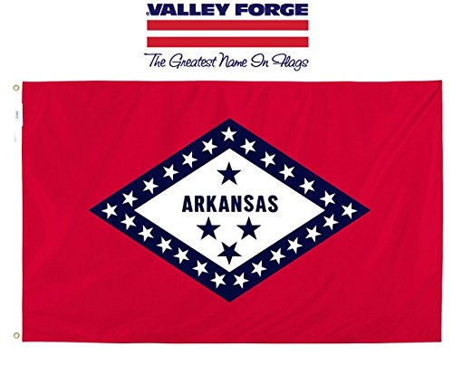 Valley Forge, Arkansas State Flag, Nylon, 3'x5', 100% Made in USA, Canvas Header, Heavy-Duty Brass Grommets