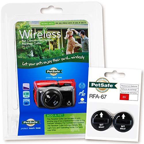 PetSafe PIF-275-19 Wireless Fence Dog Collar with 2 Free Batteries, 10 x 9 x 4 ()