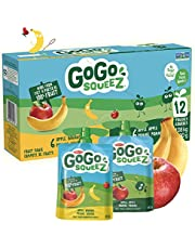 GoGo squeeZ Unsweetened Applesauce Pouches, Variety Pack (Apple/Apple Banana Flavours), No Sugar Added - 1,080 Grams (12 Pouches of 90 Grams)