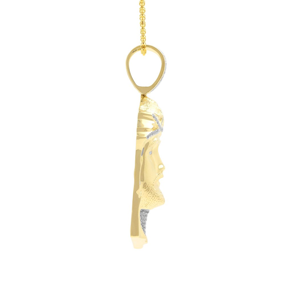 0.52ct Diamond Jesus Face Religious Mens Hip Hop Pendant in Yellow Gold Over 925 Silver (I-J, I1-I2) by Isha Luxe-Hip Hop Bling (Image #3)