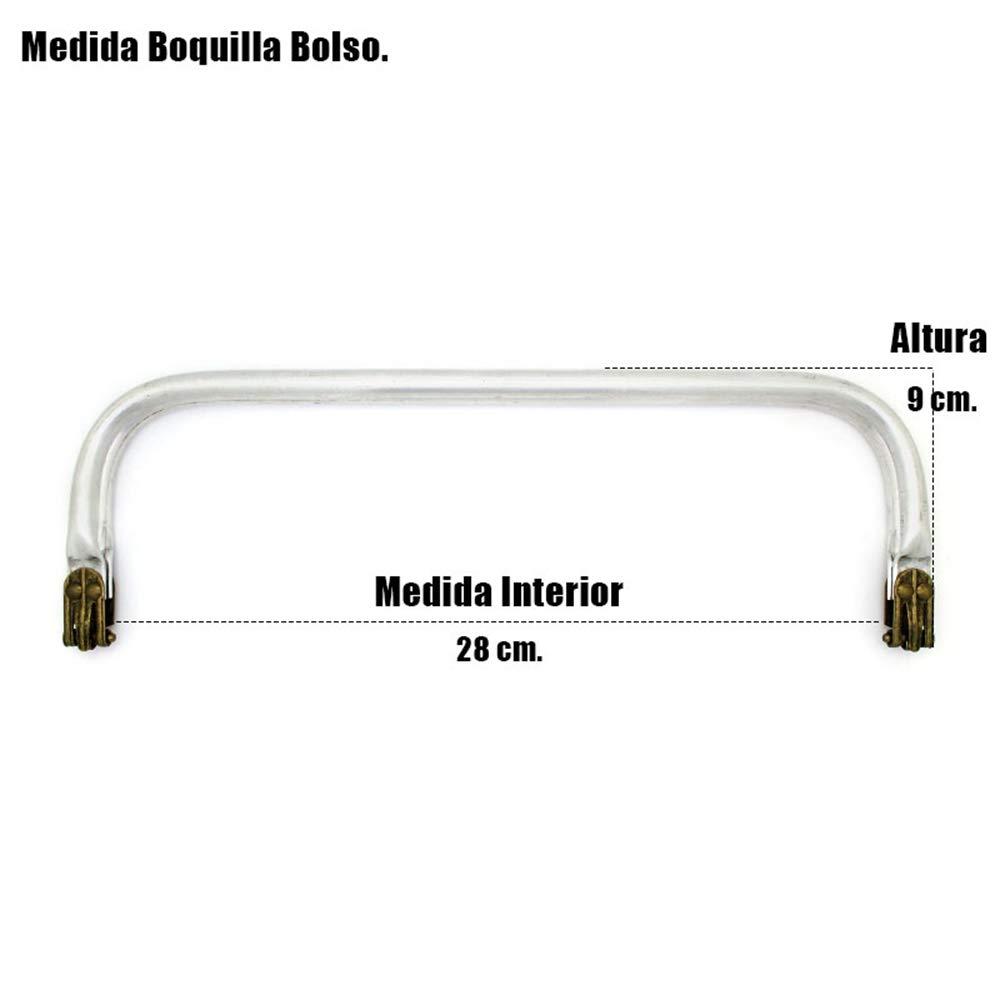 RUBY-Boquilla aluminio para interior monedero neceser o bolso Cierres Boquillas para crear tus bolsos Manualidades (25cm)
