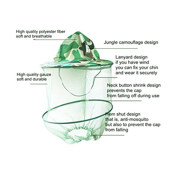 YouU 2 Pack Camouflage Apicoltura Apicoltore Anti-zanzara Ape Bug Insetto Fly Mask cap Hat con Testa Net Mesh Protezione… 3 spesavip