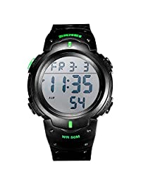 SKMEI Digital Mens Watch with Luminous Alarm Date Week 50M Waterproof (Green)